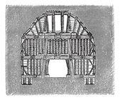 Wooden Tunnel Design, vintage engraving — Stock Vector