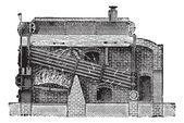 Babcock & Wilcox Boiler, vintage engraving — Stockvektor