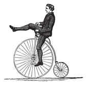 Penny-farthing or High Wheel Bicycle, vintage engraving — Stok Vektör