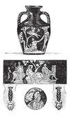 Portland Vase, vintage engraving — Stock Vector