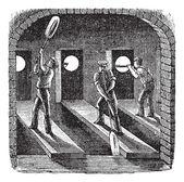 Silindirik cam üfleme, antika gravür — Stok Vektör