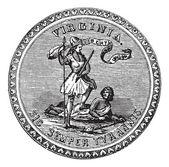 Sello del grabado vintage estado de virginia, estados unidos — Vector de stock