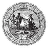 Seal of the State of West Virginia, USA, vintage engraving — Stock Vector