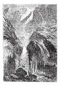Yosemite Falls in Sierra Nevada California United States vintage — Stock Vector