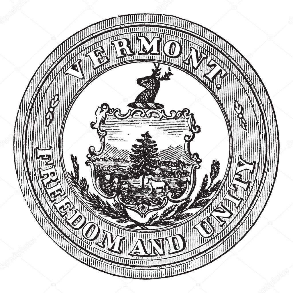 Seal of the State of Vermont, USA, vintage engraved illustration. Trousset encyclopedia (1886 - 1891). — Stock Vector #9104937