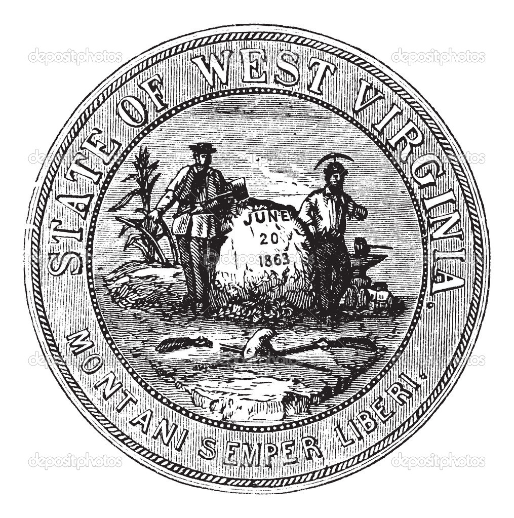 Seal of the State of West Virginia, USA, vintage engraved illustration. Trousset encyclopedia (1886 - 1891). — Stock Vector #9105387