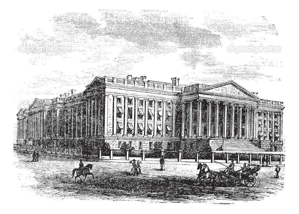 United States Department of the Treasury Building, in Washington, D.C., USA, vintage engraved illustration. Trousset encyclopedia (1886 - 1891). — Stock Vector #9105446