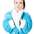 Royalty-Free Stock Photo: Young attractive woman in sky-blue bathrobe isolated on white