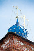 Blue dome of old orthodox church — Stock Photo