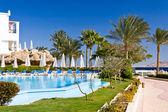 Tropical resort on sea beach — Stock Photo