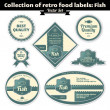 Collection Of Retro Food Labels. Fish — Stock Vector