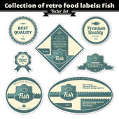 Collection Of Retro Food Labels. Fish — Stockvektor