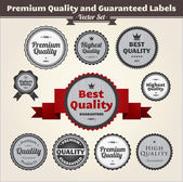 Premium Quality And Guaranteed Labels — Stock Vector