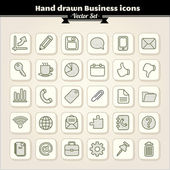 Hand Drawn Business Icons — Stock Vector