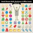 Hand Drawn Web, Business And Office Icons - Stock Vector