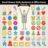 Hand Drawn Web, Business And Office Icons — Stock Vector