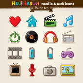 Hand getrokken media en entertainment web iconen — Stockvector