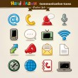 communication icon set Vector main draw — Vecteur #10581908