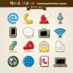Vector Hand Draw Communication Icon Set — Stock Vector