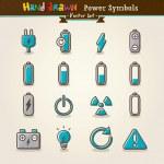 Vector Hand Draw Power Symbols Icon Set — Stock Vector