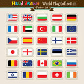 Vector Hand Draw World Flags Icon Set — Stock Vector
