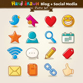 Vector Hand Draw Blog And Social Media Icon Set — Stock vektor