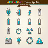 Vector Hand Draw Power Symbols Icon Set — Stockvektor