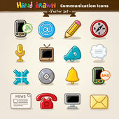 Vector Hand Draw Communication Icon Set — Stockvektor