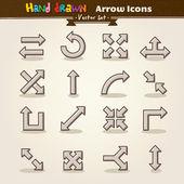 Flèche icon set vector main draw — Vecteur