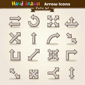 Wektor rysować ręka strzałka zestaw ikon — Wektor stockowy