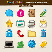 Vector Hand Draw Internet And Web Icon Set — Stockvektor