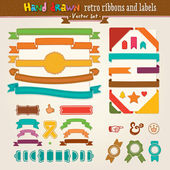 Vector Hand Draw Set Of Retro Ribbons And Labels — Stock Vector