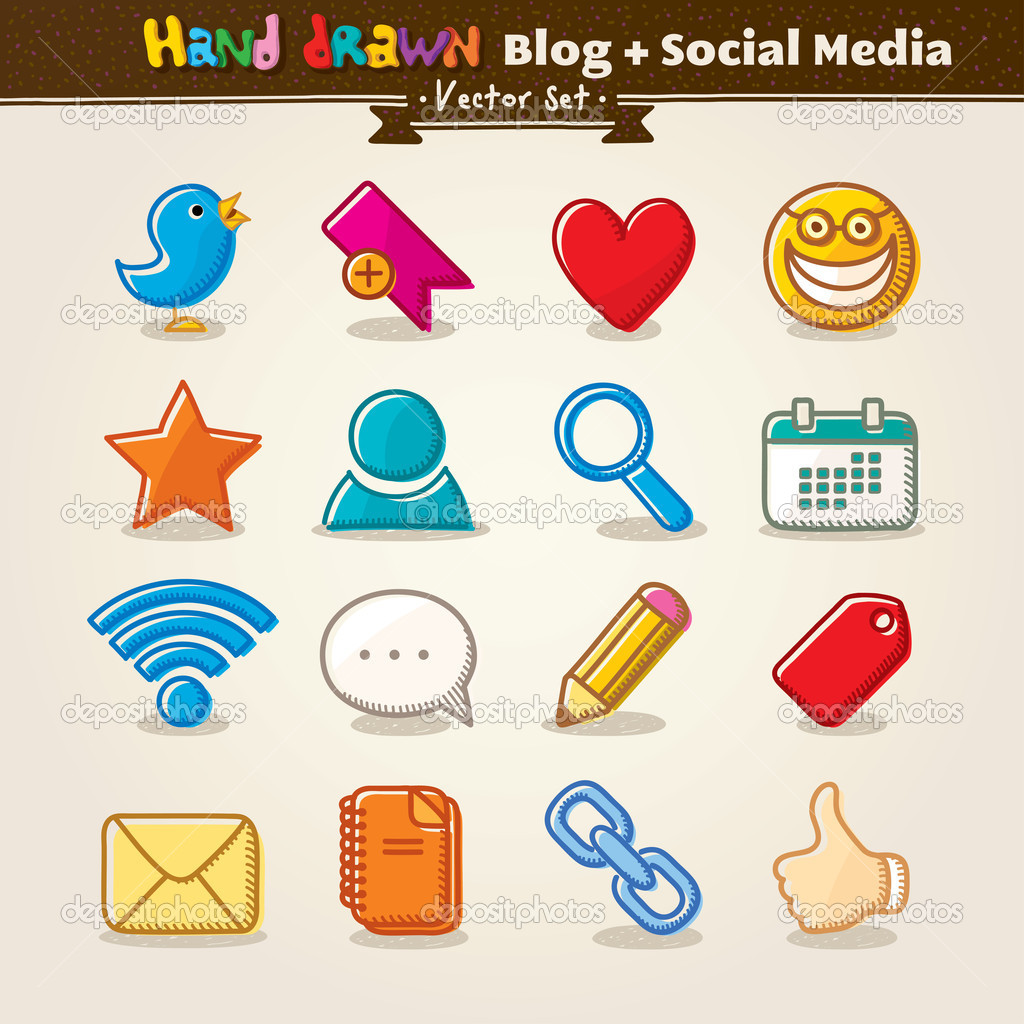 Hand Draw Blog And Social Media Icon Set. Vector illustration.  Stock Vector #10581899