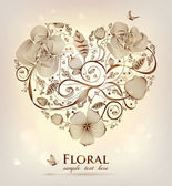 Floral heart — Stock Vector