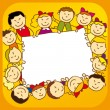 Kids with sign — Stock Vector #8754135