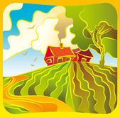 Rural landscape with housesl — Stock Vector