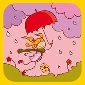 Spring rain — Cтоковый вектор