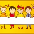 Stock Vector: Six kids with sign