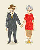 Grandmother and grandfather — Vector de stock