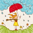 Royalty-Free Stock Vector Image: Girl with red umbrella