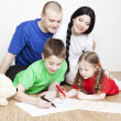 Portrait of a beautiful family: parents and children - Stock Photo