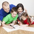 Portrait of a beautiful family: parents and children — Stock Photo
