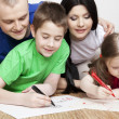 Portrait of a beautiful family: parents and children — Stock Photo #9777101