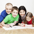 Stock Photo: Portrait of a beautiful family: parents and children