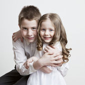 Portrait of a child, the love of brother and sister — Stock Photo