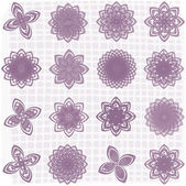 Collection of 16 flower sketches — Stock Vector