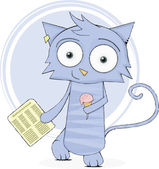 Cute cat with newspaper and ice-cream — Stock Vector