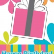 Vector de stock : Happy birthday cute greeting card, vector illustration