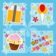 图库矢量图片: Happy birthday colorful greeting card, vector illustration