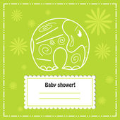 Baby shower invitation card, vector — Vector de stock